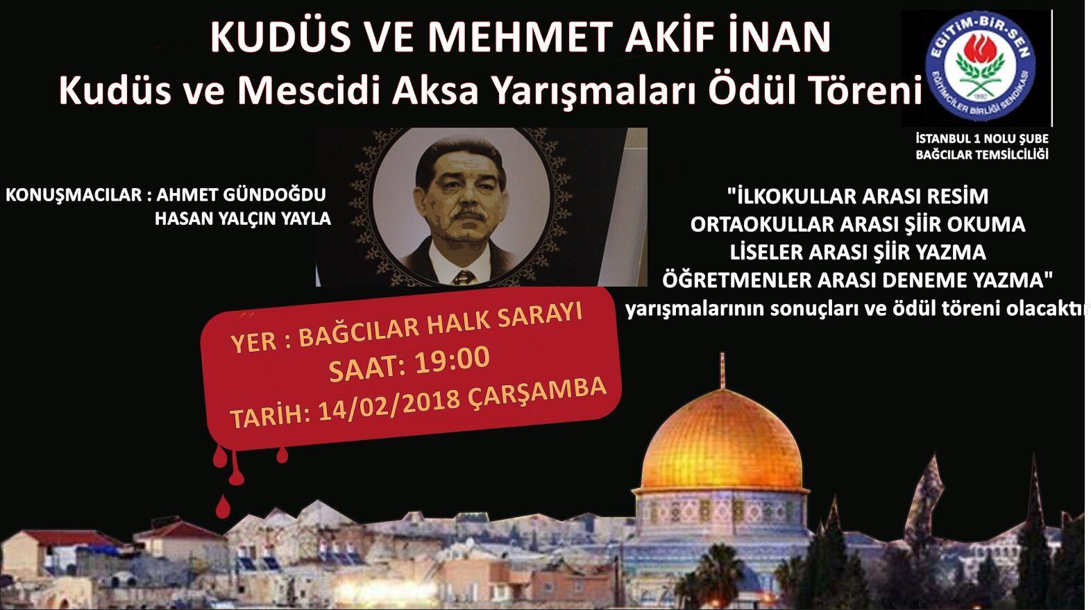 Kudüs ve Mehmet Akif İnan Ödülleri Sahiplerini Buluyor