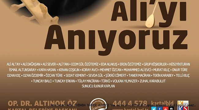 32 Sanatçı, Kıvırcık Ali İçin Kartal'da Sahne Alacak
