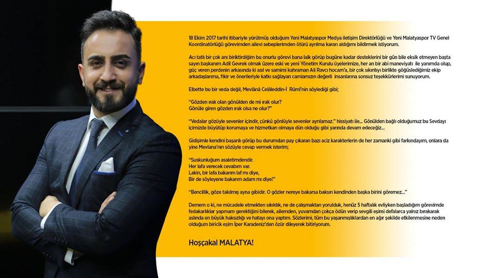 Ali Karadeniz camiadan  helallik istedi, Yeni Malatyaspor'dan istifa etti