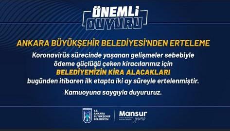 Ankara Büyükşehirin kiracılarına jesti , belediye kiracılarına umut oldu