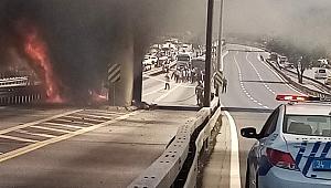 Metrobüs yangını yürekleri ağza getirdi