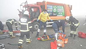 Tekirdağ Malkarada Yoğun sis kazalara neden oldu: 3 yaralı