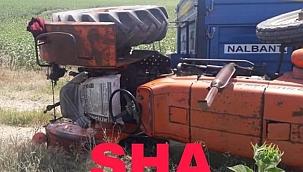 Buğday yüklü traktör devrildi facia Kıl payı atlatıldı