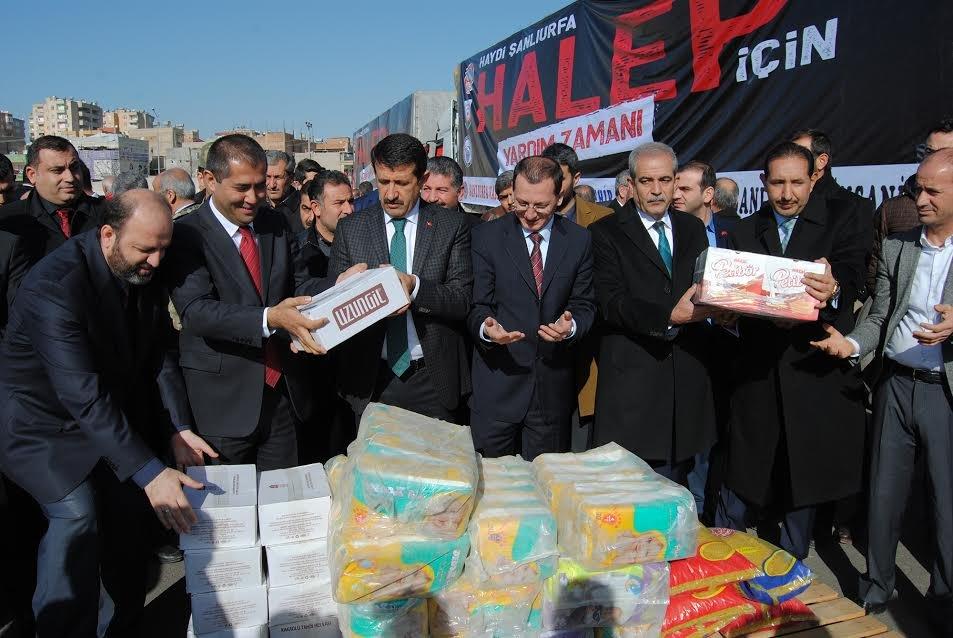 Şanlıurfa'dan Halep'e 20 yardım tırı yola çıktı